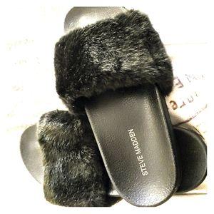 Steve Madden Faux Fur Slides